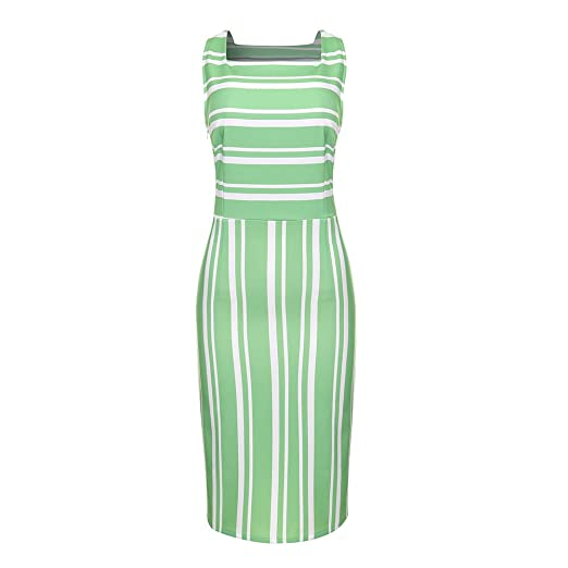 0f27b8c9b01 Women s Elegant Striped Print Vintage Bodycon Dress Sexy Sleeveless Round  Neck Casual Evening Party A Line