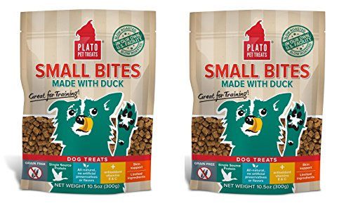 PLATO Dog Treats -Small Bites Natural Duck- 10.5 oz (2 Pack) ()
