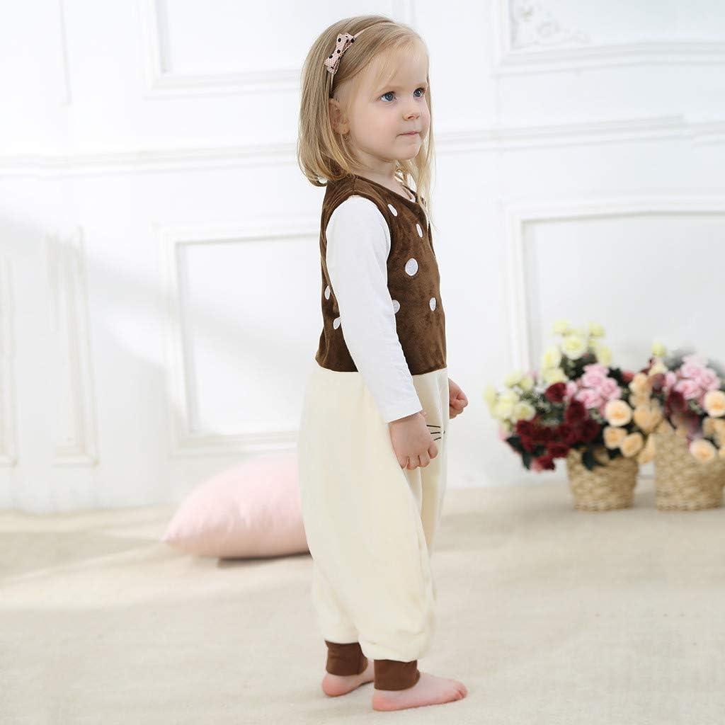 WOCACHI Toddler Kids Romper Sleeping Bag Boy Girl Cartoon Warm Long Sleeve Sleepwear Split Leg Jumpsuit Winter Autumn Outfits for 1-6 Years