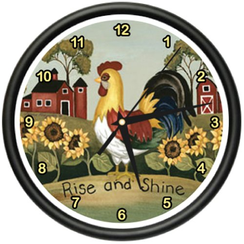 MightySkins ROOSTER Wall Clock farmer kitchen home décor ...