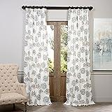 HPD HALF PRICE DRAPES Half Price Drapes PRTW-D05-108 Printed Cotton Curtain, Allium Blue Gray
