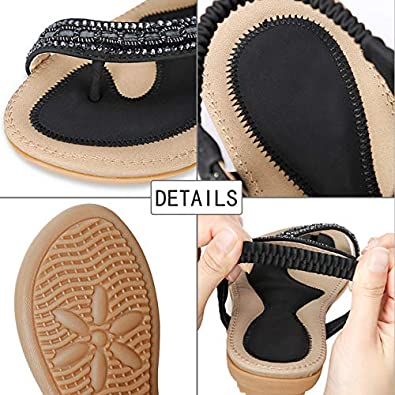 SANMIO Women Summer Flat Sandals Shoes,Bohemian T Strap Thong Shoes Flip Flop Shoes