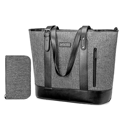 UtoteBag 15.6 Inch Women Laptop Tote Bag Classic Shoulder Bag Compatible Notebook Ultrabook Handle Adjustable Handbag Briefcase for Work Travel Business Office (Grey)