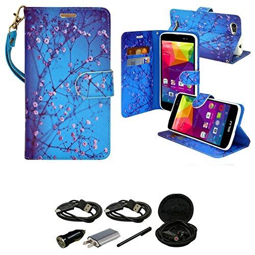 Blu VIVO XL Wallet Case, Slim Flip Folio [Kickstand Feature] Pu Leather Wallet Case with ID & Credit Card Slot For Blu Vivo Selfie - With Accessories (Ocean) -  mstechcorp
