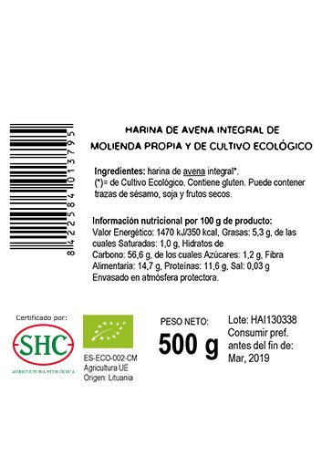 Ecocesta Harina de Avena Integral - Paquete de 3 x 500 gr - Total: 1500 gr: Amazon.es: Alimentación y bebidas