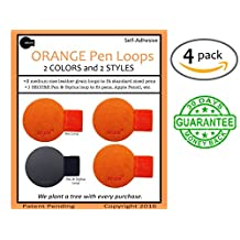 4x Arune Pen Loop (M) 3 Orange, 1 Black - Designed for Moleskine, iPad Pencil, journals, planners, sketchbooks, & more