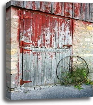 Rustic Old Barn Door Paper Print Wall Art Gallery Wrapped Canvas Art (24in. x 20in.) by barewalls