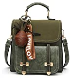 Women Handbag Backpack Crossbody Shoulder Bag for School & Daily Commute, PU Leather, Pineapple Pendant Included, Green