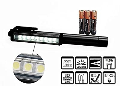 Ultra Bright 160 Lumen LED Pocket Pen Work Light with Powerful Magnetic Base & Rotating Magnetic Clip. 3 AAA Duracell Inc. Camping, Household, Workshop, Automobile. Hassle Free Replacement Guarantee.