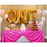 ShinyBeauty 60x102-Inch-Hot Pink-Sequin Rectangular Tablecloth for Party Cake Dessert Table (Hot Pink)