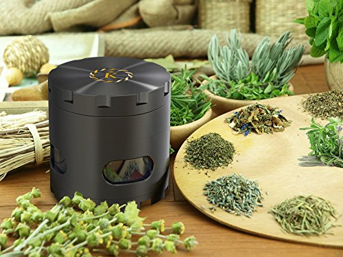 K-brand-Black-Gold-Spice-Tobacco-Herb-Grinder-For-All-Purpose-Chopper-Herbs-Spices-Tobacco-Four-Piece-Big-Storage-Chamber-and-Separate-Pollen-Catcher
