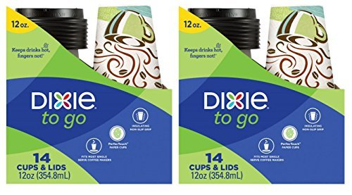 Dixie To Go Disposable Paper Cups and Lids, 14 Count, 12 Ounce Coffee Cups; Designs May Vary - Pack of 2 -