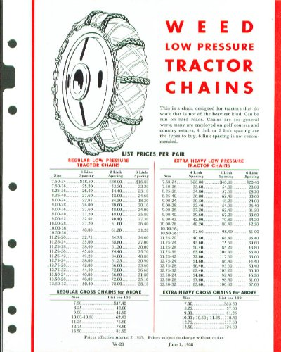 Weed Low Pressure Tractor chains sell sheet 1938 (Sell Weed)