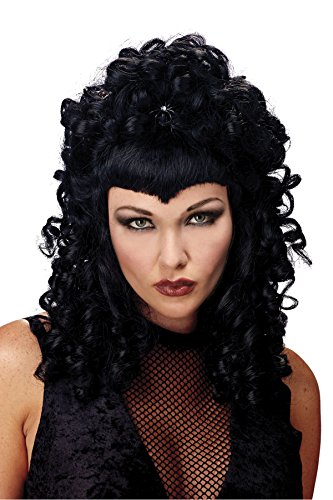UHC Spider Queen Widows Peak Goth Black Wig Halloween Costume Accessory
