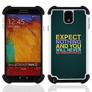 """Pulsar ( Expectativas Esperanza Cita Slogan Decepción"""" ) Samsung Galaxy Note 3 III N9000 N9002 N9005 híbrida Heavy Duty Impact pesado deber de protección a los choques caso Carcasa de parachoques"""