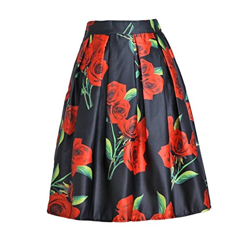Halter Pleats Skirt (Kmety Women's Black/Green/White/Blue Sakura Skater Skirt With Pleat)