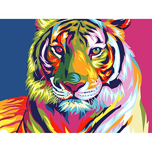 Yomiie 5D Diamond Painting Tiger Animal Full Drill by Number Kits for Adults Kids, DIY Rhinestone Pasted Paint Set for Arts Craft Decoration (12x16inch) ()