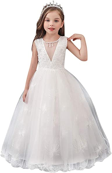 DAY8 Robe Princesse Fille 3-12 Ans Robe Ceremonie