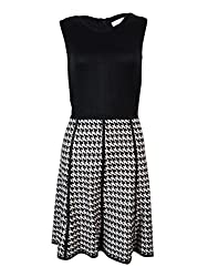 Calvin Klein Womens Petites Knit Pattern Sweaterdress Black PM