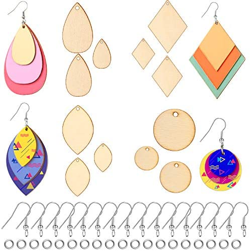 120 Pieces Unfinished Wooden Earrings Blanks Wooden Teardrop Earrings Wood Pendants with 60 Pieces Earring Hooks and 60 Pieces Jump Rings for Earrings Jewelry DIY Craft Making