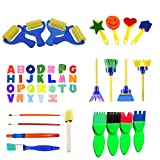 48pcs Kids Art & Craft Early Learning Painting Sponges Stamper Mini Paint Brushes Kit with 26 English Alphabets Drawing Tools (Brushes Only)