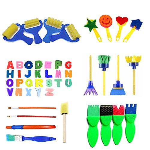 48pcs Kids Art & Craft Early Learning Painting Sponges Stamper Mini Paint Brushes Kit with 26 English Alphabets Drawing Tools (No Storage Box)