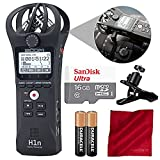 Zoom H1n Digital Handy Portable Recorder and 16GB Accessory Bundle with Clip Clamp + 2X AAA Batteries + Fibertique Cloth