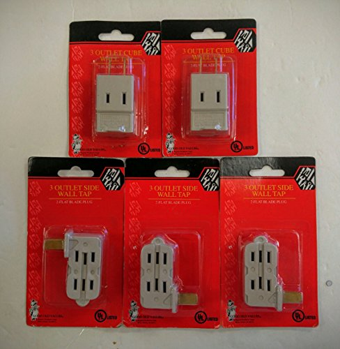 Set of 5 Wall Outlet Taps and Adapters (3 Outlet Side Wall Tap & 3 Outlet Cube Tap)