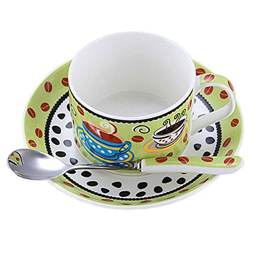 GREEN Modern Coffe Cup English Style Tea Mug Set With Plate&Spoon