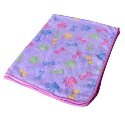 VIASA Soft Blanket with Coral Fleece Cover Pet Cat Mat Dog Doggy Warm Bed Mat Paw Print Cushion (S, Purple)