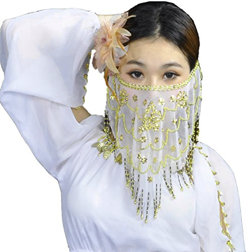 Calcifer Belly Dance Tribal Face Veil With Beads and Plum Blossom,Indian Dance Veil, Halloween Costume Accessory (White)]()