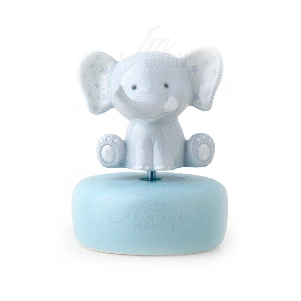 Spieluhr HERVIT Elefant Porzellan hellblau Sterne Geschenk Geburt ...