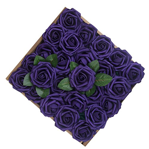 Umiss Wedding Bouquet 50pcs Artificial Flowers White Real Touch Artificial Roses for Bouquets Centerpieces Wedding Party Baby Shower DIY Decorations (Purple) (Centerpieces Purple Wedding)