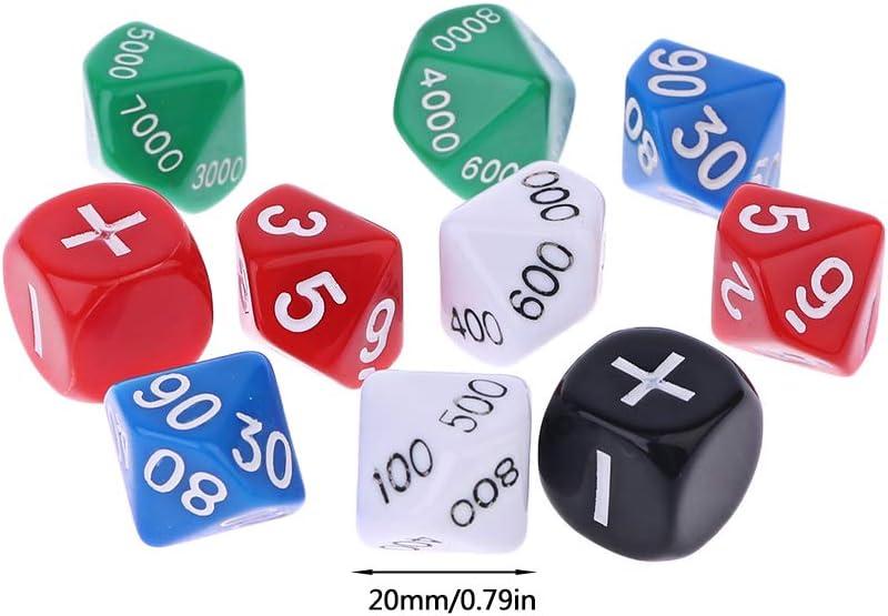 Kuvuiuee D10 10 - Juego de 10 dados de polihedral para juegos de mesa (polihedral, 20 mm): Amazon.es: Hogar