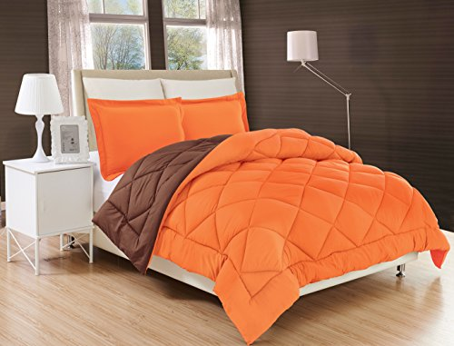 Elegant Comfort All Season Comforter and Year Round Medium Weight Super Soft Down Alternative Reversible 3-Piece Comforter Set, King, Orange/Chocolate