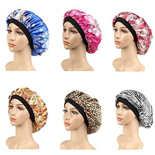 Jstyle 6Pack Soft Satin Hair Bonnet for Women Girls Shower Caps Hair Hat for Sleeping Shower Beautiful Hair,Waterproof Head Cover Bonnet (Cover Beautiful Girls)