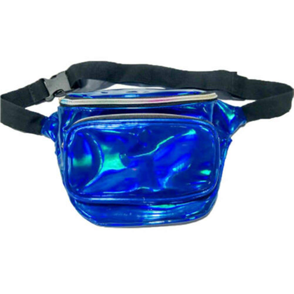 Blue Outdoor Sport Waist Pack for Running Hiking Holographic Fanny Packs Cute Fashion Waist Bag Belt Bags
