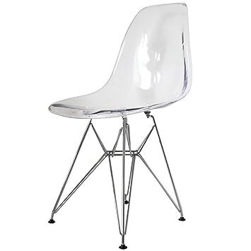 Merveilleux Charles Eames Style Eiffel Clear Plastic Retro Side Chair
