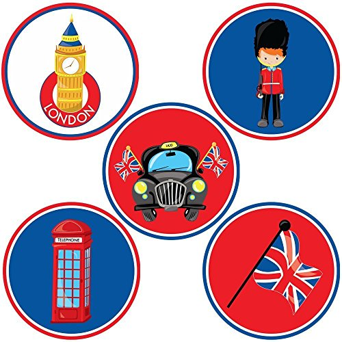 London British Themed Sticker Labels - Birthday Baby Shower Travel Wedding Party Favors - Set of 50