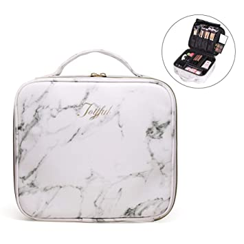cd35d33144eb Joyful Professional Travel Makeup Case,Marble Makeup Cosmetic Train Case  Organizer Bag with Dividers...