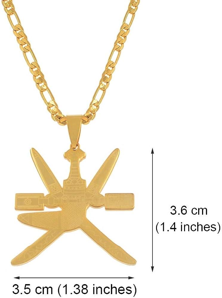 Oman Flag Pendant Necklaces Women Men Khanjar The Symbol of Omam Jewelry Stainless Steel