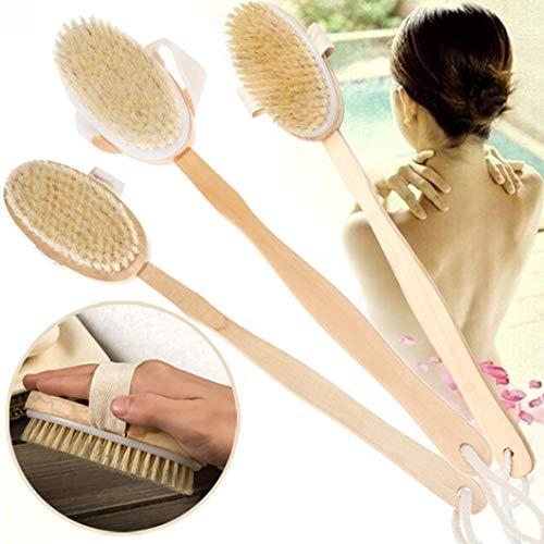 Bath Brush Long Wood Handle Reach Back Body Shower Bristle S