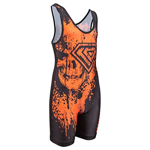 [KO Sports Gear's Orange on Black Skull Wrestling Singlet (Youth S : 40 - 55 lbs )] (Dance Team Costumes Competition)