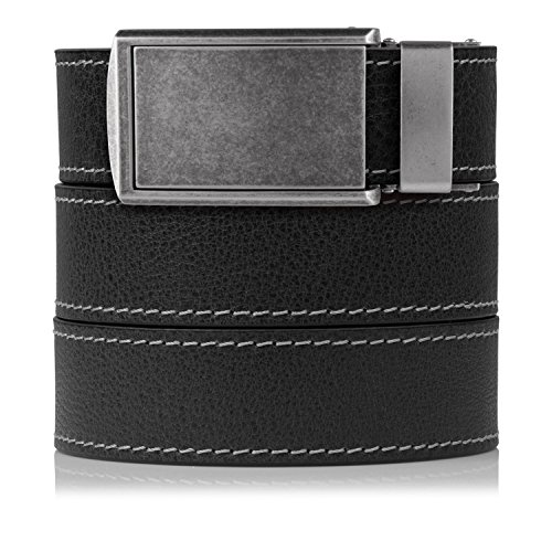SlideBelts Men's Contrast Stitching Ash Full Grain Leather with