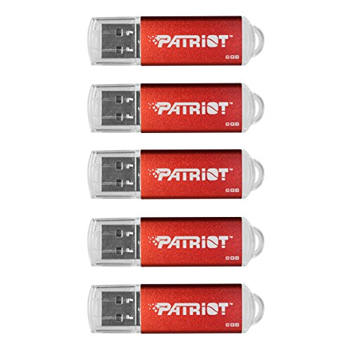 Patriot Memory 8GB Pulse Series USB 2.0 Flash Drive, 5 Pack, Red (PSF8GXPPR5PK)