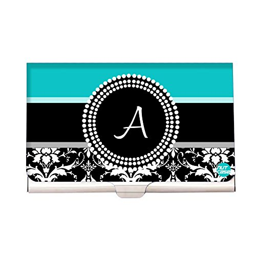 (Blue Damask - Personalized Designer Visting Card Holder - Nutcase Your Name Business Card Holders for Girls)