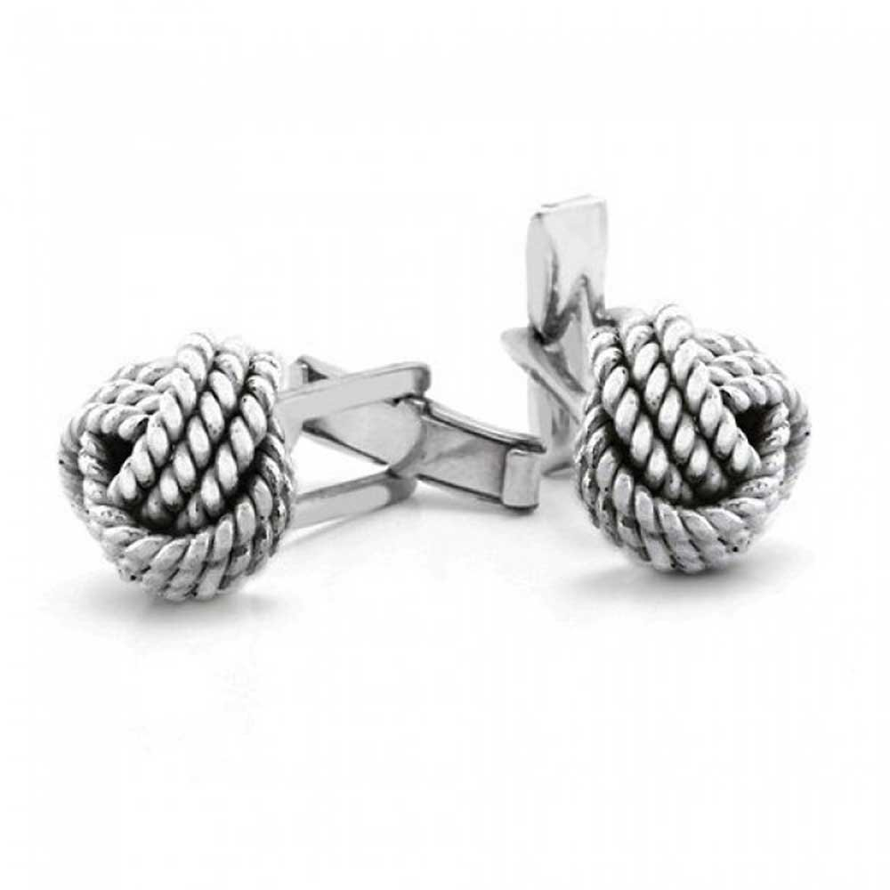 Men 925 Silver Cable Twist Love Knot Hinged Back Cufflinks
