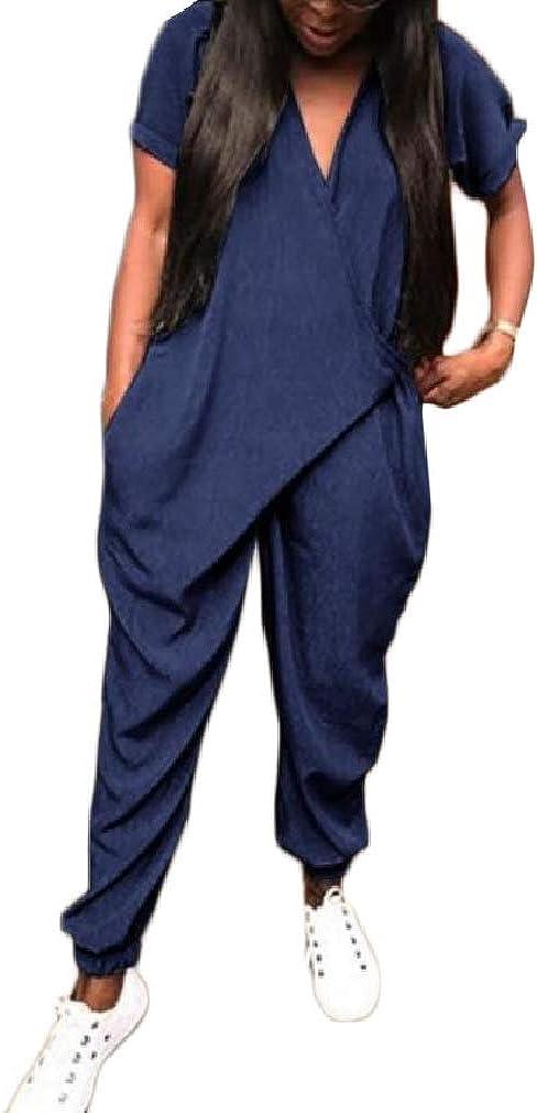Cromoncent Women Baggy V Neck Short Sleeve Criss Harem Bodysuit Jumpsuit