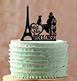 Wedding Cake Topper Personalized Eiffel Tower Paris Silhouette Bride And Groom Custom Wedding Cake Toppers Letters Funny Wedding Anniversary Cake Topper Party Event Decorations Wedding Gift