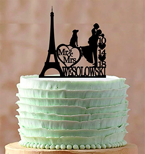 Wedding Cake Topper Personalized Eiffel Tower Paris Silhouette Bride And Groom Custom Wedding Cake Toppers Letters Funny Wedding Anniversary Cake Topper Party Event Decorations Wedding Gift by Dikoum